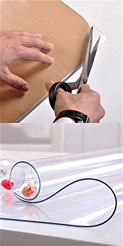 """Table Protector Dining Tabletop Topper Protection Pad Wooden Furniture Protective Cover Desk Top Wipeable End Table Cloth Waterproof PVC Vinyl Wipeable Clear Plastic Tablecloth 24 Inches x 48"""" or 42"""""""