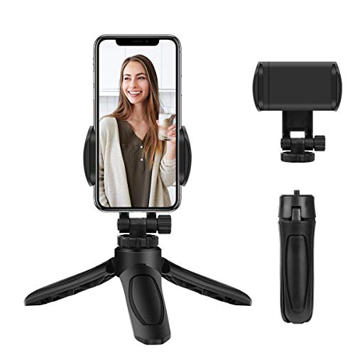 CROGIE Mobil Tripod, Lightweight Tabletop Mini Phone Holder Stand with 360° Ball Head,Tripod Stand Compatible with iPhone/Android/Camera,Prefect for Live Streaming YouTube