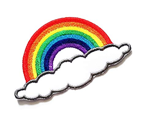 "3.5"" X 2"" Long Cloud with Beautiful Rainbow Cartoon Kids Logo Jacket t-Shirt Jeans Polo Patch Iron on Embroidered Logo Sign Badge Comics Cartoon Patch by Tour les jours Shop"