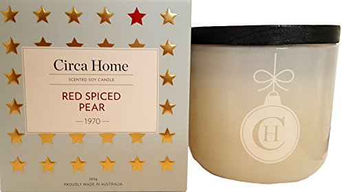 Circa Home Red Spiced Pear Scented Soy Candle 10 Oz. From Australia