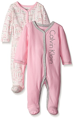 Calvin Klein Baby-Girls Newborn 2 Packs Sleep Stretches Pink and Gray, Multi, 0-3 Months