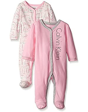 Baby Girls' 2 Packs Sleep Stretches Pink and Gray
