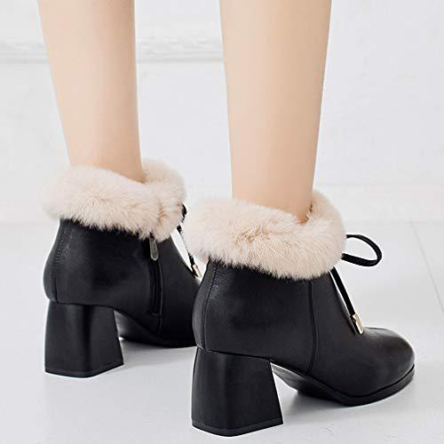 Y Punta Botines Para Tacón Yan Negro Con Cremallera Mujer Botas Alto Invierno Zapatos Mujer Tobillo En Moda De Antideslizantes Tacones AqUUO