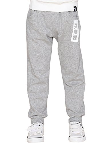 BYCR Boys' Elastic Cotton Jogger Knitted Pant for Kids Size 5-12 No. 7160108032 (150 ( US Size 10 ), dark-gray) (Joggers For Boys 11)