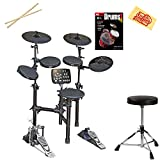 Vault HD005 8-Piece Electronic Drum Kit Bundle with Throne, Sticks, Instructional Book, and Austin Bazaar Polishing Cloth