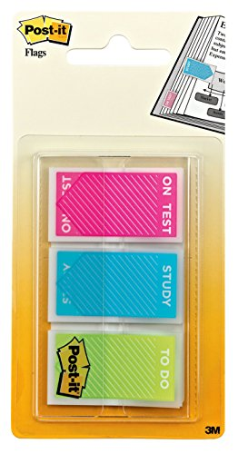 "Post-it Message Flags, ""Study, On Test, To Do"", Assorted Bright Colors, .94-Inch Wide, 60 Flags/Pack (680-STUDY)"