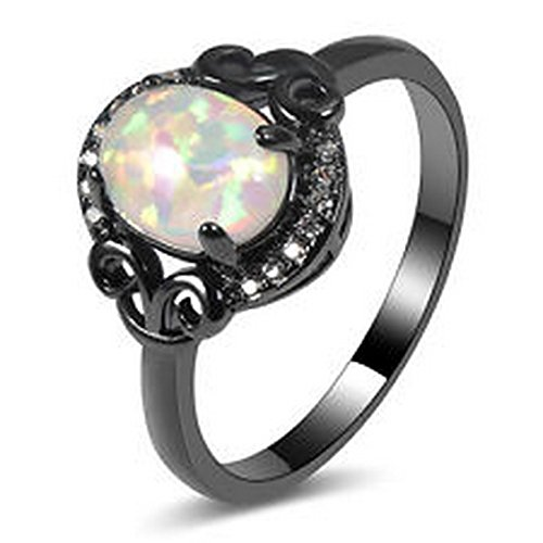 YD Jewels - White Fire Opal Ring 14KT Black Gold Filled Wedding Ring Size ()