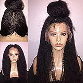 Foxys' Hair Unproceed Italian Yaki Lace Front Human Hair Wigs Mongolian Kinky Straight Human Hair wigs 130% Density (16inch lace front, natural color)