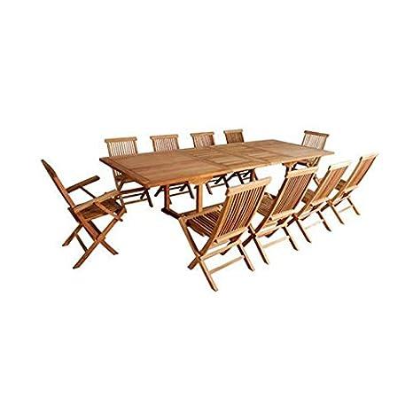 Salón de jardín en madera de teca en bruto calidad Premium ...