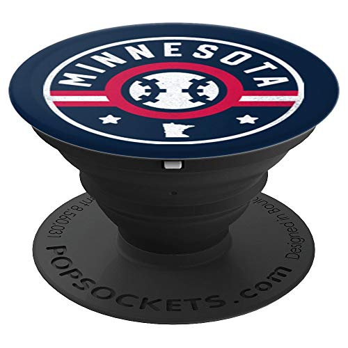 Minnesota Baseball Stars and Stripes MN Map Outline PopSockets Grip and Stand for Phones and Tablets
