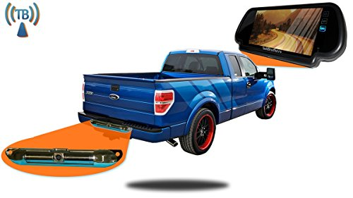 TadiBrothers Pickup Truck Backup Camera System (7 Inch Mirror with Wireless CCD Steel License Plate - Mirror Backup Tadibrothers Camera