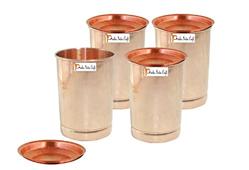 Set of 4 - Prisha India Craft Copper Tumbler with Lid Volume: 350 ML / 8.4535 OZ I Traveller's Copper Mug I Set of Copper Glasses , Drinkware Glassware Set - Christmas Gift (4in Copper Lid)
