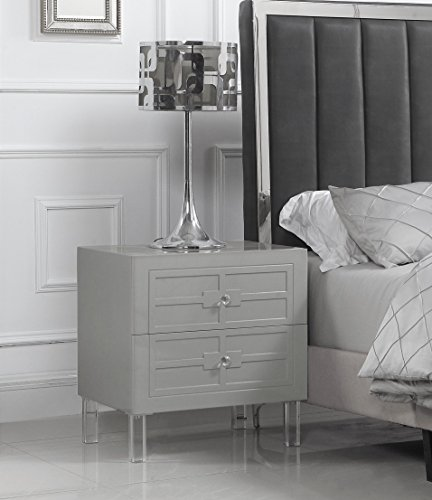 Iconic Home Naples Nightstand Side Table with 2 Self Closing Drawers Lacquer Acrylic Knob Legs, Modern Contemporary, Grey