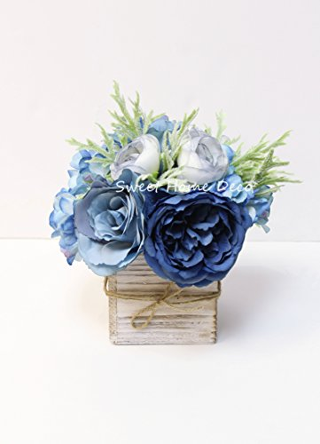 Sweet-Home-Deco-8-Silk-Rose-Peony-Hydrangea-Mixed-Flower-Arrangement-w-Wood-Vase-Wedding-Home-Decorations