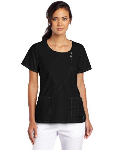 Dickies Scrubs Women's Gen Flex Junior Fit Contrast Stitch Round Neck Top, Black, XX-Large
