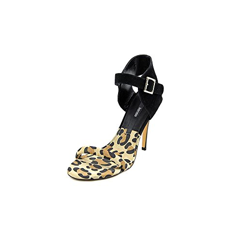 kensie Womens Ravette Leather Open Toe Ankle Strap D-orsay Pumps Leopard