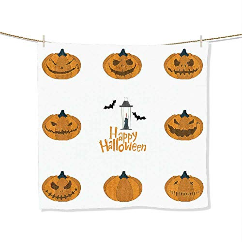 FootMarkhome 100% Cotton Halloween Pumpkin Carving Set Happy Halloween Typography Vector Novelty Christmas Bathroom Towel -Size:19.7