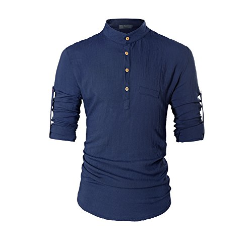 KEYBUR Beloved Mens Henley Neck Long Sleeve Popover Daily Look Linen Shirts (M, Navy Blue)