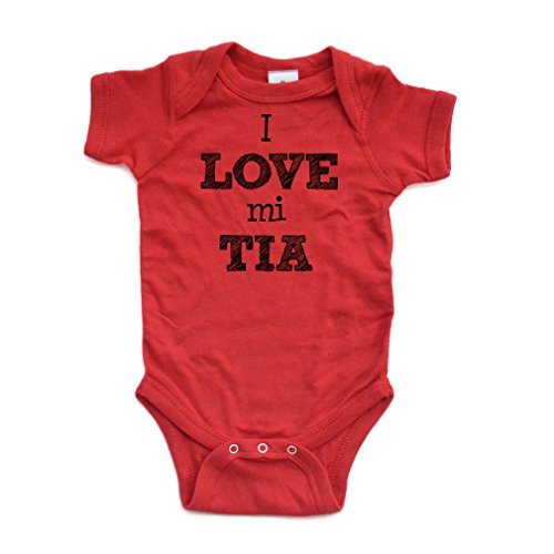 (Apericots I Love Mi Tia Spanish My Aunt Cute Short Sleeve Baby Bodysuit)