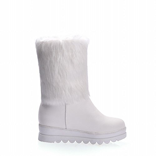 Show Shine Womens Faux Fur Low Heel Wedges Heel Ankle Boots White AVgwrjw