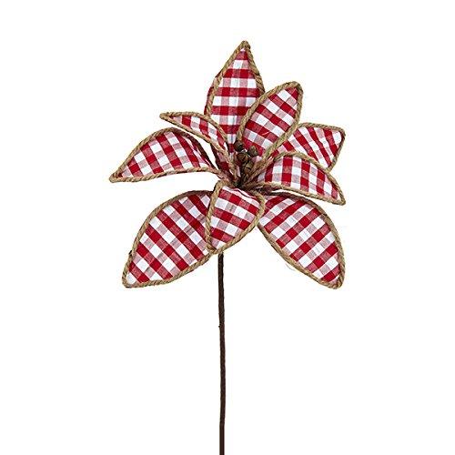 Gingham Flower (Kurt Adler RED AND WHITE GINGHAM FLOWER PICK)