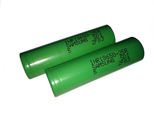2 Samsung INR18650-25R 18650 2500mAh 3.6v Rechargeable Flat Top Batteries (Blue/Green assorted)