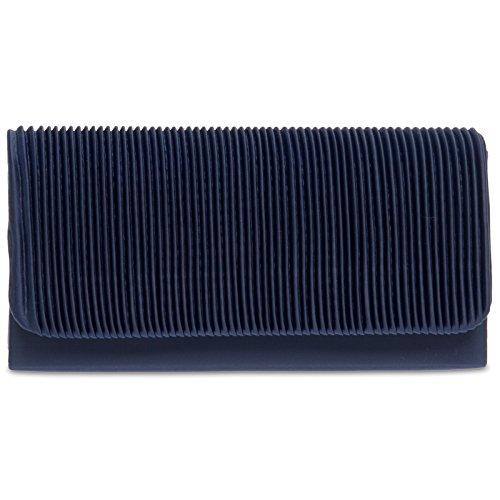 CASPAR TA351 Bolso de Mano Fiesta Pequeño para Mujer Clutch con Tejido Drapeado Azul Oscuro