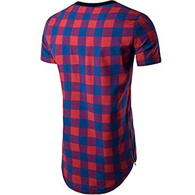 Whatlees Mens Hipster Hip Hop Checkered PU Leather Short Sleeve Longline T Shirt With Side Zipper