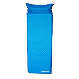 "Hiker Hunger Self Inflating Sleeping Pad w/Attached Pillow - Compact for Boy & Girl Scouts, Outdoor Camping, Backpacking 30 ULTRA LIGHT, COMFORTABLE, & COUPLER - We created a rapid rise open cell foam that keeps our self inflating sleeping pad light weight while providing the comfortable support you'll need for a great nights sleep. Our sleeping pad is the perfect thickness of 1.5"" inches allowing you to be lifted above any rocky terrain, yet still remain compact when not inflated. You can even attach this to multiple pads to create a giant sleeping pad from your loved ones! This is always a huge hit with the kids! HIGH QUALITY & DURABLE MATERIALS - Unlike other pads, we use premium 70D non-slip ripstop fabric on the bottom AND top of our pads. Our heavy duty abrasion resistant fabric will survive the most rugged outdoor terrain. Our pads have a R-Value of 3.3 making our pad one of the warmest sleeping pads on the market. You can now camp outside throughout the year with a warm pad even in those winter months and cold nights! SELF INFLATING & ATTACHED PILLOW - Tired of blowing up your sleeping pad? Our self-inflating sleeping mat will give you a head start to inflating your pad! Our sturdy valves provide rapid inflation and deflation so you can set up camp quickly and get to relaxing faster. This sleeping pad also comes with an attached pillow so you can have a fully loaded bed with a pillow all in one! Never worry about forgetting to bring your pillow again!"