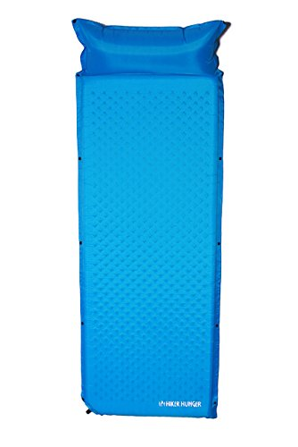 Ultra Lightweight Self Inflating Sleeping Pad with attached Pillow - Built for Backpacking, Camping, Hiking, Hammocks, Tents, and More! (Blue)