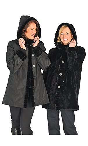 Madison Avenue Mall Womens Sheared Mink Jacket Reversible With Hood Black SZ - Mall Madison