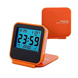 Travel Clock, KLAREN Mini Portable Folding Electronic Digital Alarm Clock with Alarm clock, Calendar, Temperature, Backlight, Repeating Snooze Orange