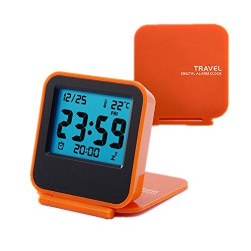 Travel Clock, KLAREN Mini Portable Folding Electronic Digital Alarm Clock with Alarm clock, Calendar, Temperature, Backlight, Repeating Snooze Orange