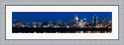 Cincinnati skyline and John A. Roebling Suspension Bridge at twilight from across the Ohio River, Hamilton County, Ohio, USA by Panoramic Images Framed Art Print Wall Picture, Flat Silver Frame, 44 (Cincinnati Ohio Usa Framed)