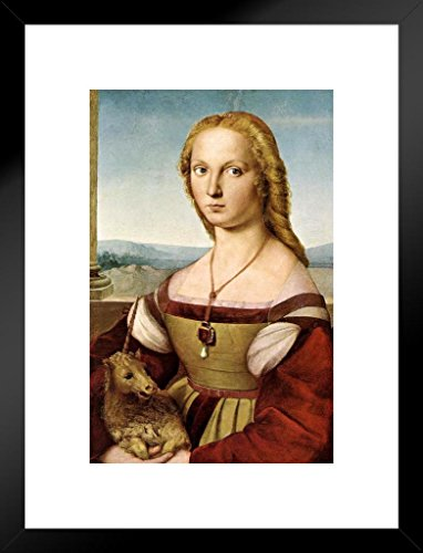 (Raphael Portrait of Young Woman with Unicorn Fine Art Matted Framed Wall Art Print 20x26 inch)