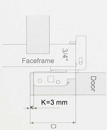 1-1/4'' Overlay Soft Close Face Frame 105° Compact Cabinet Hinge (50) by DecoBasics (Image #4)