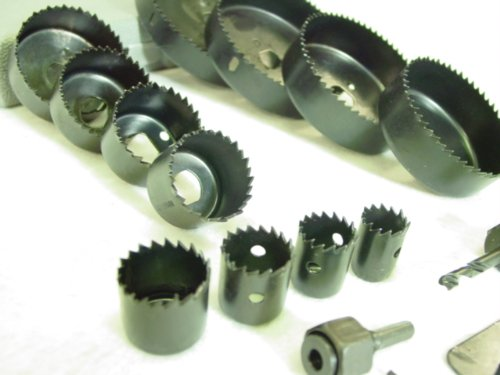"Hole Saw Kit 16 pieces 3/4""-5"" Full Set in Case with Mandrels and Install Plate"