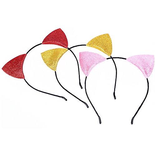 Kinzd Glitter Cat Ear Headbands Kitty Headbands Cat Ear Hair Hoops for Girl and Women (3pcb) ()