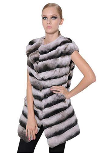 YR Love Women's Rex Rabbit Fur Vest Chinchilla Whole for sale  Delivered anywhere in USA