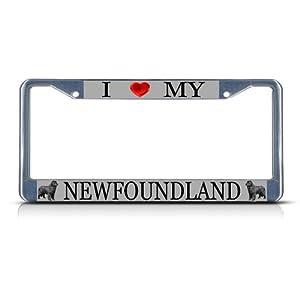 Fastasticdeals I Love My Newfoundland Dog License Plate Frame Tag Holder Cover 6