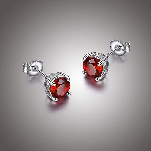 - Sterling Silver Genuine Garnet Round January Birthstone Stud Earrings