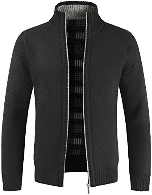 GRMO Men's Zipper Stand Collar Fashion Winter Plain Cardigan Sweater: Odzież