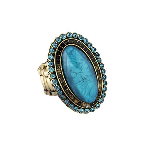 (Lux Accessories Synthetic Turquoise Oval Stretch Ring)