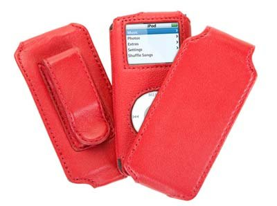 Trio Ipod Nano Leather Case - Griffin Trio 6110 - 3-in-1 Leather Case for iPod nano 1st Gen and 2nd Gen - Fuschia