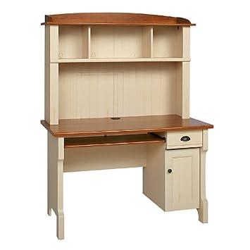 Realspace Shore Mini Solutions Computer Desk With Hutch, Antique White