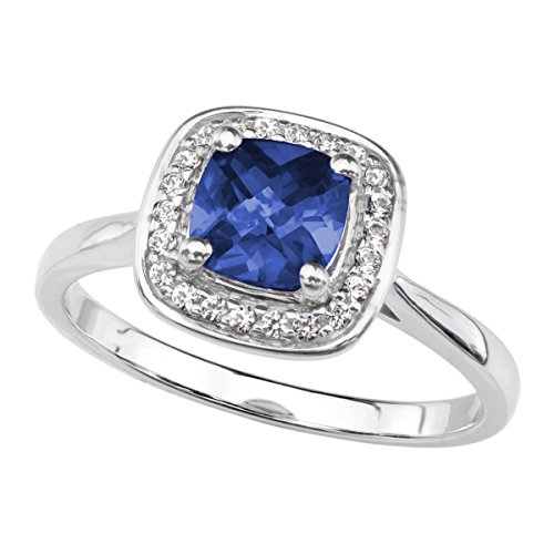 Lab Created Blue Sapphire Ring in Rhodium Plated Sterling Silver With White Sapphire Accents (Sapphire Lab Created Ring)