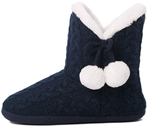 Airee Fairee Slippers Booties for Women Ladies Girls Slipper Boot Bootie Faux Fur Lined with Pom Poms (Medium US 7-8, Navy Blue)