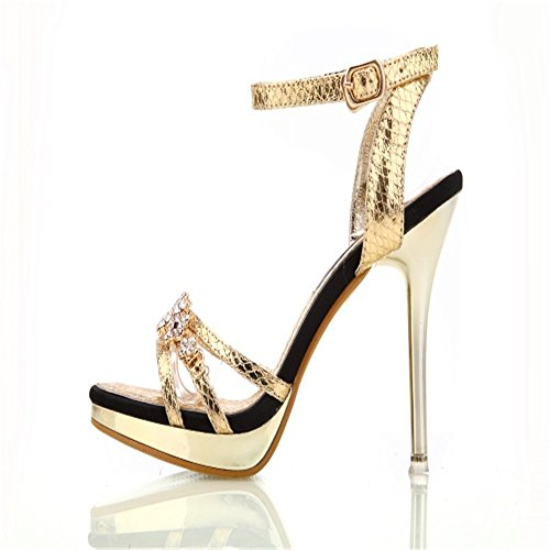 HXVU56546 Shoes Drilling High Gold Summer Fine Sandals New Water And Women Heel Sexy Women rXrxF74w