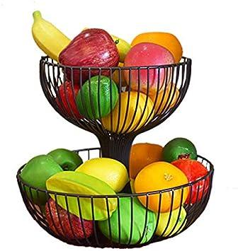 Wohnzimmer f/ür Brot 2 St/öckig Obstkorb aus Keramik Haucy Obst Etagere K/üchendekoration Mehrschichtiger Obstkorb Snacks und Obst verwendet Dunkelgr/ün
