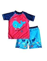 87a728d864 Boys' UPF 50+ Sun Protection Swim Shorts & Rashguard Set (Little Kid,